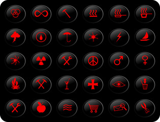 black and red buttons