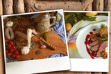 two polaroid with foods fotos on wooded background poster
