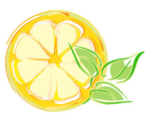 lemon slice with leaves. artistic illustration