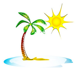 palm, sea and sun. holiday illustration