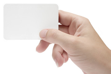 hand w/ blank business card