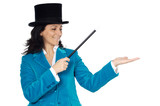 attractive business woman with a magic wand and hat poster