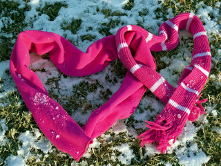 """""""messages"""": snowy scarf hearts linked; a love note"""