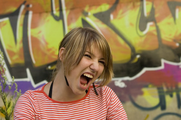 girl screaming in protest