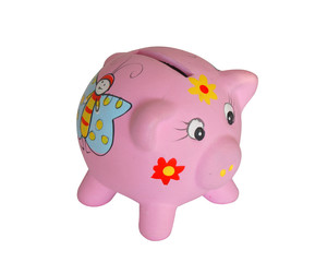 pink pig bank from clay