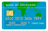 credit car with world map poster