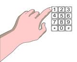 hand punching at number key pad poster