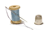 spool of thread with needle poster