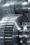 mechanical gear-concept in blue poster