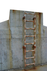 rusty ladder leading to a winner's place