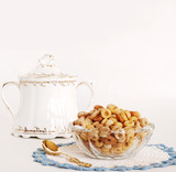 multi-grain cereal served in vintage dishes poster