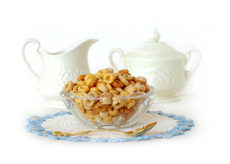 breakfast cereal in a vintage glass bowl isolated on white