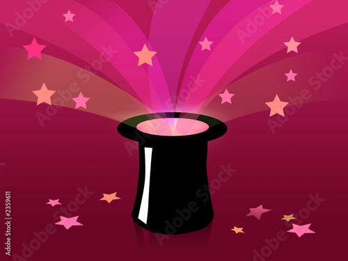 magic black hat with purple background