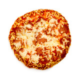 pizza with salami isolated on white poster