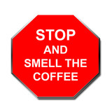 stop sign humor smell the coffee poster