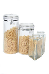 two glass jars with pasta