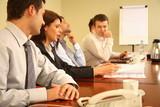 business people at informal meeting poster