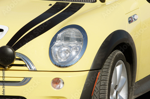yellow mini cooper headlight