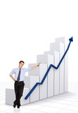 business statistics in white - businessman