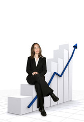 business growth chart concept with a businesswoman
