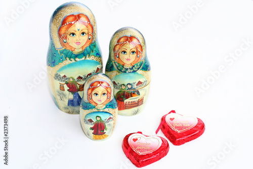 russian matrioshkas with red hearts