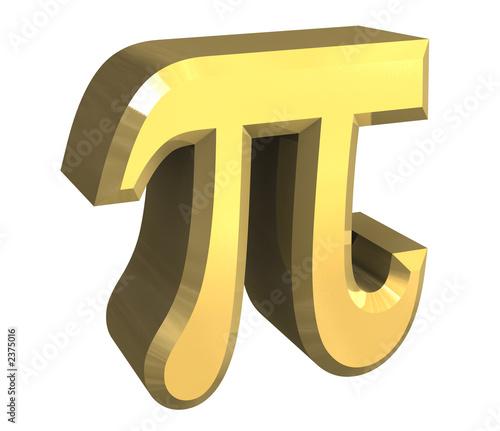simbolo pi greco in oro a fondo bianco