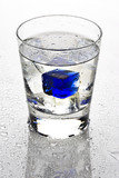beverage with blue ice cubes poster