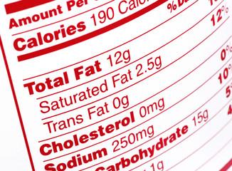 nutritional label