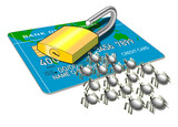 credit card with padlock and bugs poster