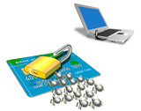 credit card padlock virus and laptop poster