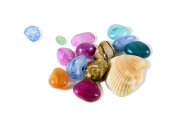 colorful pebbles with shell