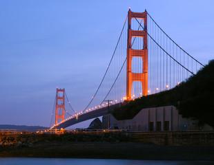 golden gate bridge at dusk from fort baker, sausal