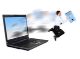 online security - businessman stealing a credit ca poster