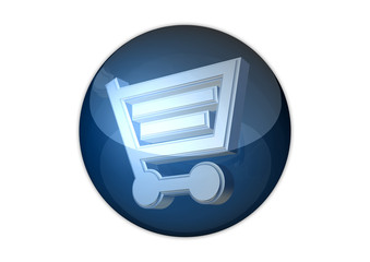 shopping cart 3d icon aqua button