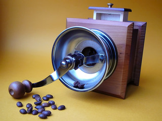 coffee grinder and the scattered grains