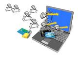 laptop credit card bug attack padlock poster
