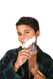 young boy shaving poster
