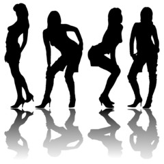 silhouette of four girls with reflection on a white background