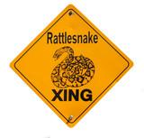 snake warning sign in desert poster
