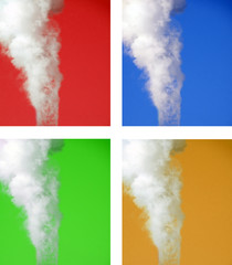 smoke collage of four colors: red, blue, green