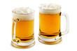 two mugs of delightful amber beer