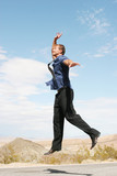 excited businessman jumping poster