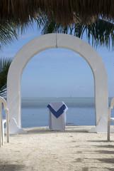 beach wedding altar