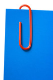 paper-clip and blue short letter poster