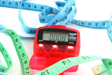 pedometer with tape measures