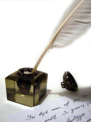 inkwell, manuscrip and pen