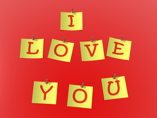 "yellow paper pinned to a red background with inscription ""i love"