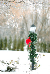 christmas decorated streetpost