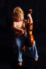 toddler playing violin