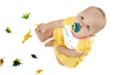 baby with dinosaurs poster